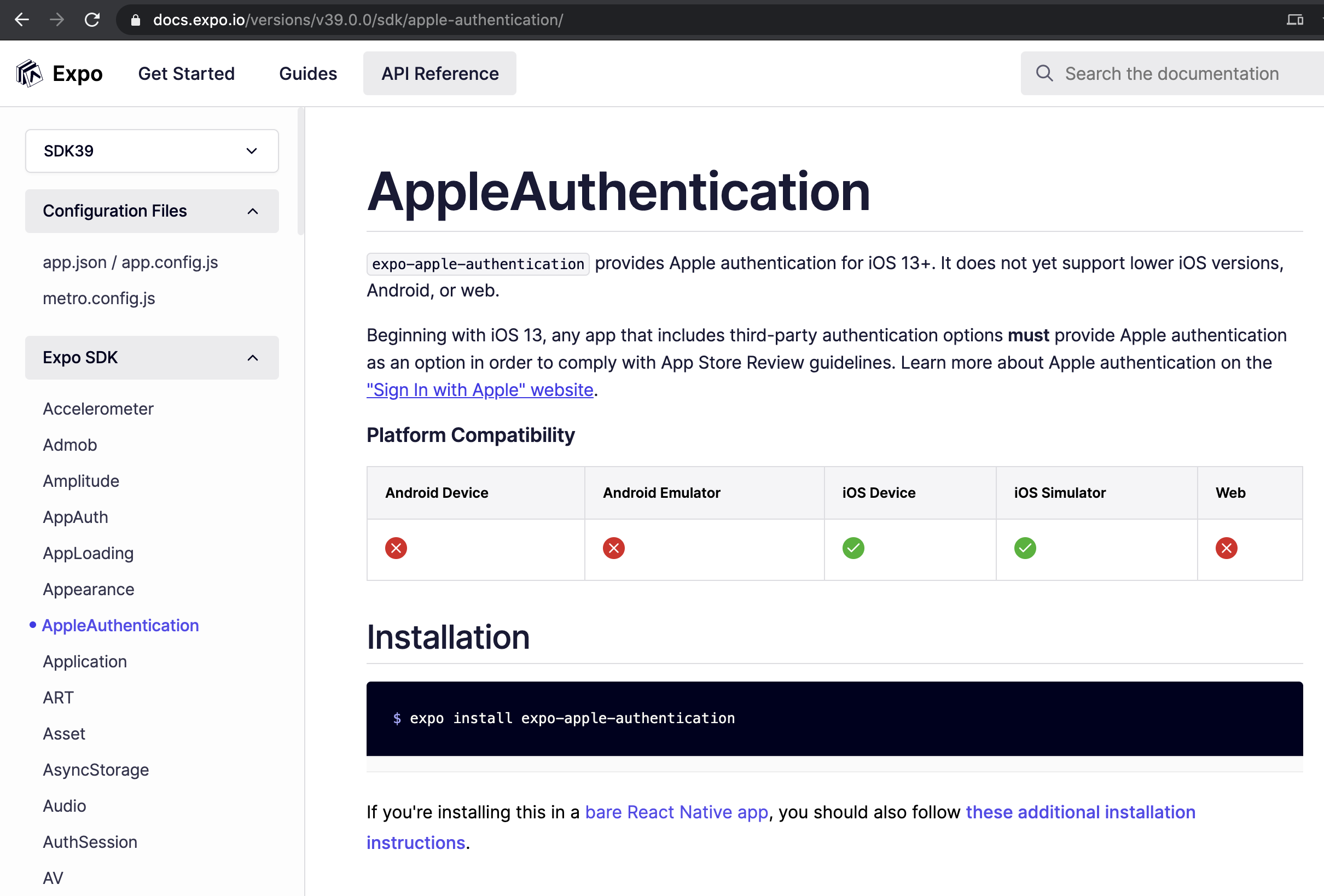 Expo's AppleAuthentication library, which doesn't work on Android or web